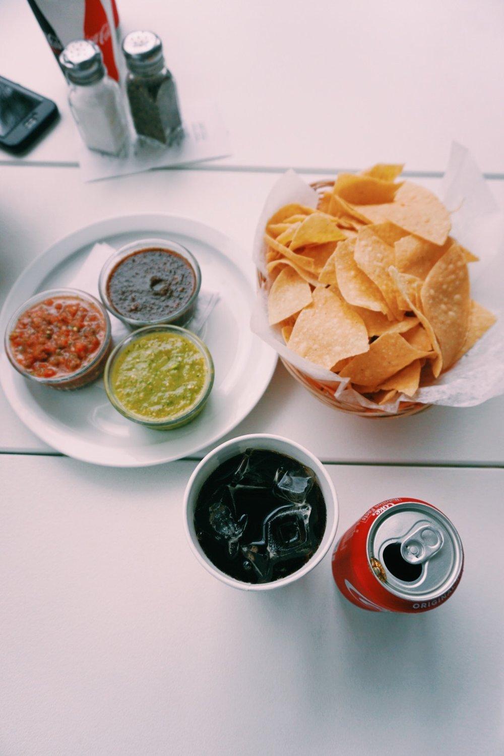 Chips and Salsa Trio at Taquiera del Sol - Athens, GA taco shop