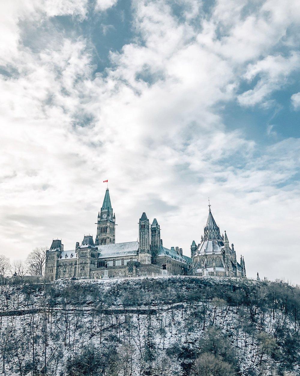 Canadian Parliament in the snow