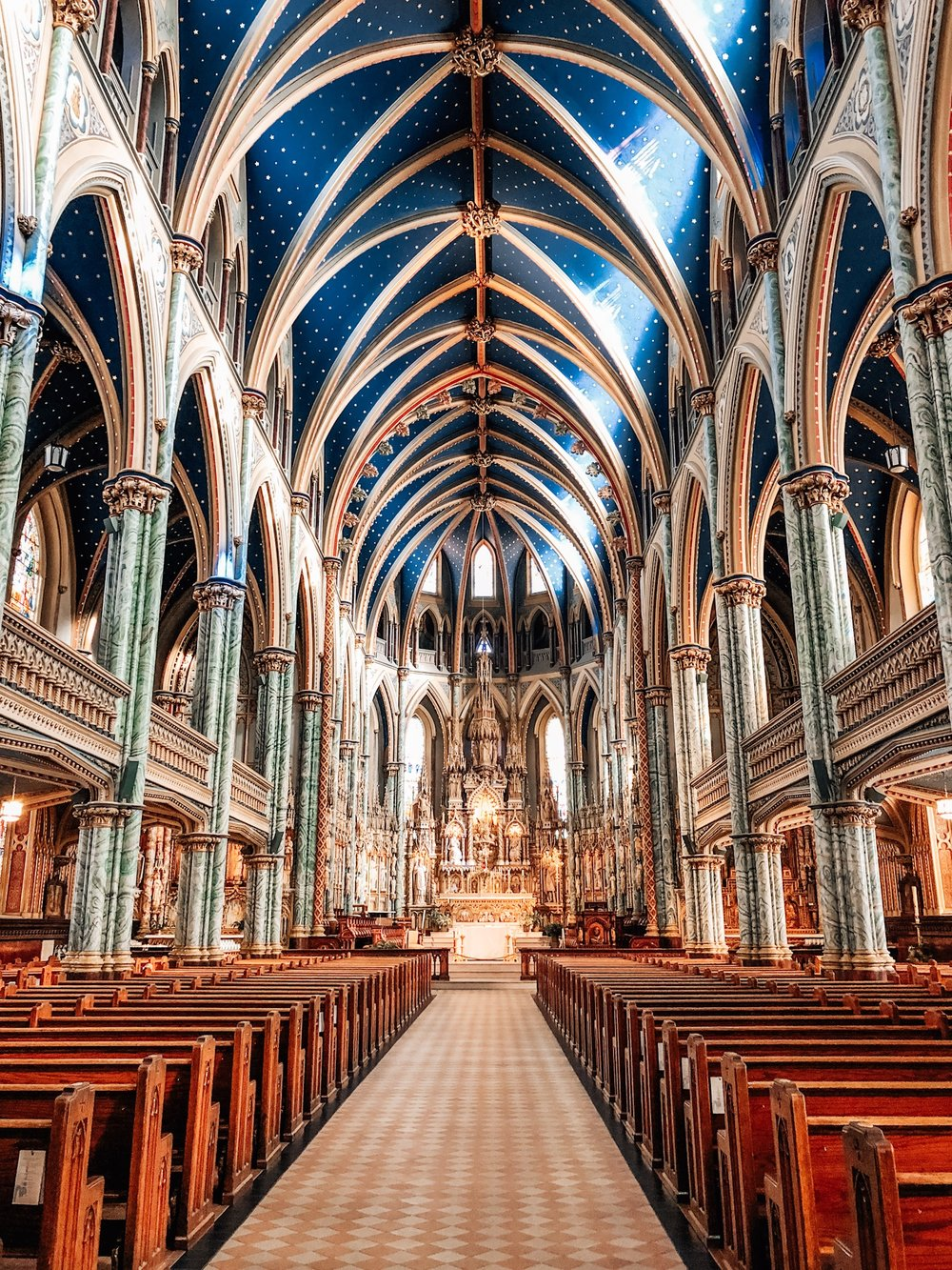 Interior of the Notre-Dame Basilica in Ottawa, ON