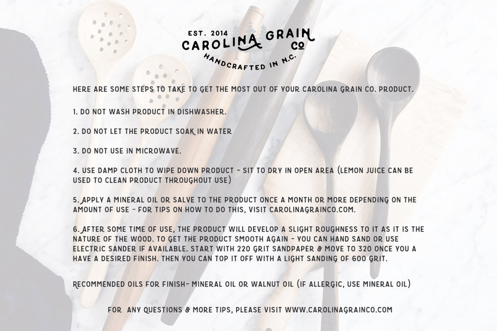Carolina Grain Co Care Card