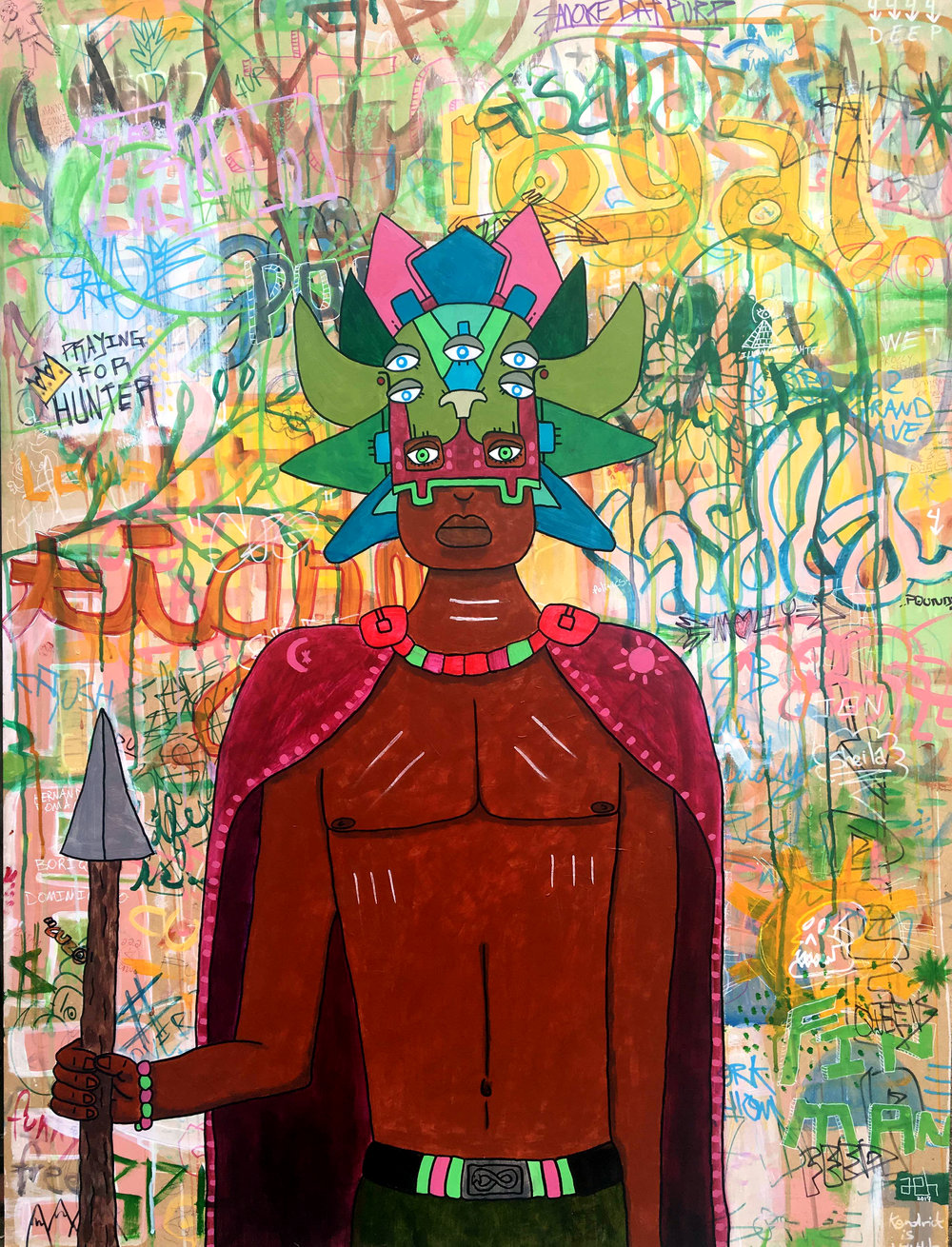 "High Priest Acrylic & Watercolor on MDF 37"" x 49"" 2017  *Please contact adam@ahernandezart.com to purchase"