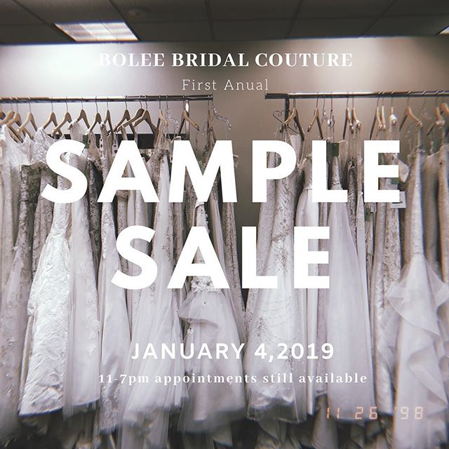 There are still appts. available for this Friday's  first annual Sample Sale! All sample dresses will be $100,$200 or $500!! Call or email us to book your appointment! . . . . . . @boleebridalcouture #boleebc #boleebride #bayareabride #bayareabridal #bridalboutique #bridalcouture #californiabride #bridal #wedding #weddings #bayareawedding #bayareaweddings #weddingdress #dreamdress #weddingdresses #weddinggown #bridalfashion #weddingfashion #bridalgown #bridalstyle #weddingstyle #bridalshop #bridalstore #weddinginspiration #2018 #2019#samplesale#sample#sale