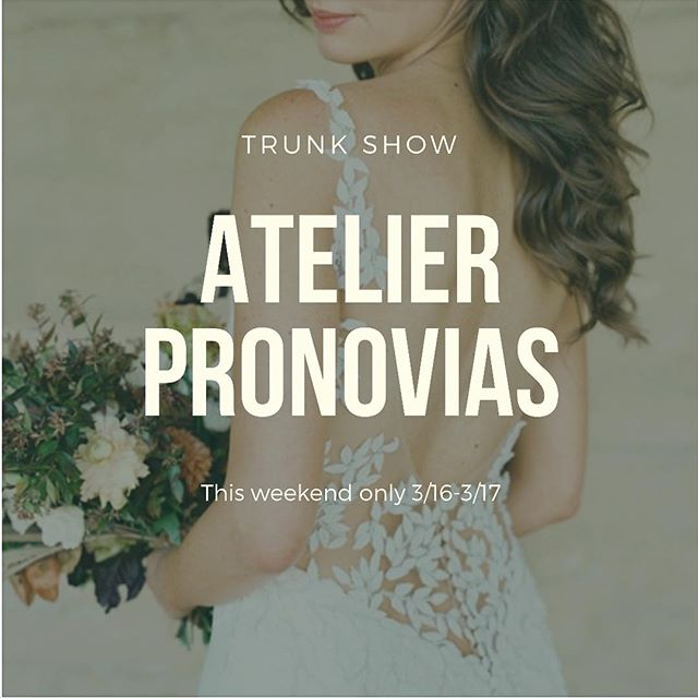 Make sure to book your appointments for this weekends @pronovias Atelier trunk show! There are only few appointments left!🤗 . . . . . @boleebridalcouture #boleebc #boleebride #bayareabride #bayareabridal #bridalboutique #bridalcouture #californiabride #bridal #wedding #weddings #bayareawedding #bayareaweddings #weddingdress #dreamdress #weddingdresses #weddinggown #bridalfashion #weddingfashion #bridalgown #bridalstyle #weddingstyle #bridalshop #bridalstore #weddinginspiration #2019