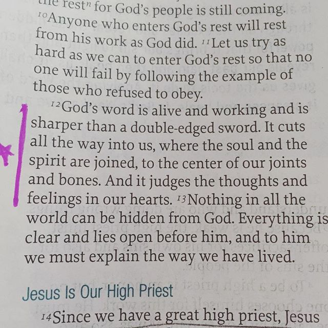 What I love about God's word is that it's alive and active today.  It was written thousands of years ago but it STILL applies. The messages, the teachings, the focus- all applicable today.  We can identify with people in His word and we can break free with the words we read.  I love how the writer of Hebrews talks about the Word and how how it penetrates us.  It's the connector of the joints- but what happens when our connection in our joints weakens? Pain. I feel it often physically as I've gotten older, especially in my knees, so I take medicine and I stretch to make sure I feel better.  Guess what happens when we aren't in His word? The same.  If we are digging deep in His word our joints have healing and ease the pain between the constant rub in our lives.  The Spirit can actively work because you're focused on the living words of God.  Here's something else living in His word does- opens your heart for inspection. Ouch.  If I'm honest, I try to hide my heart and feelings of pride from Him.  I justify my unforgiveness and anger.  When I think of myself doing these things I think of Kenley hiding from me when she has something she shouldn't have- it happens, a lot with both Kenley and I.  But as we know, the truth always comes out.  Feelings are exposed and in the end we will have to answer to God.  The best thing about reading God's word is that every book has hope for the sinner.  Example after example of great people who wrestled with sin, pride, lust, greed, and unbelief; I think that's exactly why we should read it, it gives someone like me hope and focus when I'm lost.  I hope you've been following our #letsreadromans and #letsreadhebrews studies but even if you haven't, START where you are.  Pick up Genesis, John, or Ecclesiastes!  Use the @youversion Bible app and start a plan, work diligently to study His word and let it ease the pain of every day life! #hebrews4