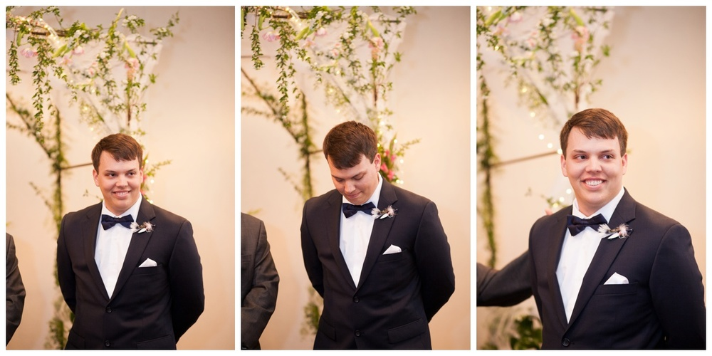I'm pretty sure Dustin had to catch his breath here as he saw his bride coming down the aisle!