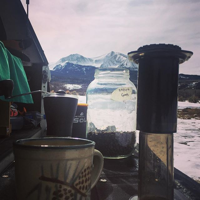Areopressing and ski dreaming. #mtsopris #aeropress #stimulation #craftcoffee #trucklife