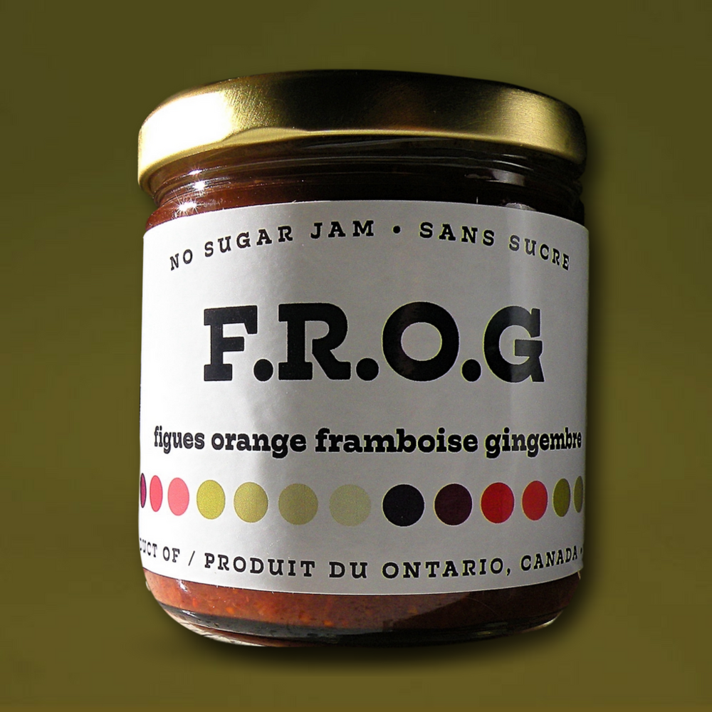 F.R.O.G. (Fig, Raspberry, Orange, Ginger) - Xylitol, Figs, Raspberries, Orange, Ginger, Sugar, Natural Pectin, Calcium Water, T.L.C.229ml