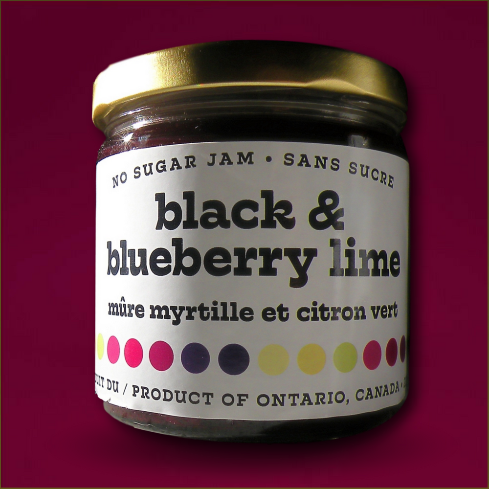 Black & Blueberry Lime - Blackberries, Blueberries, Xylitol, Lime Juice, Lemon Juice, Natural Pectin, Calcium Water, T.L.C.229ml