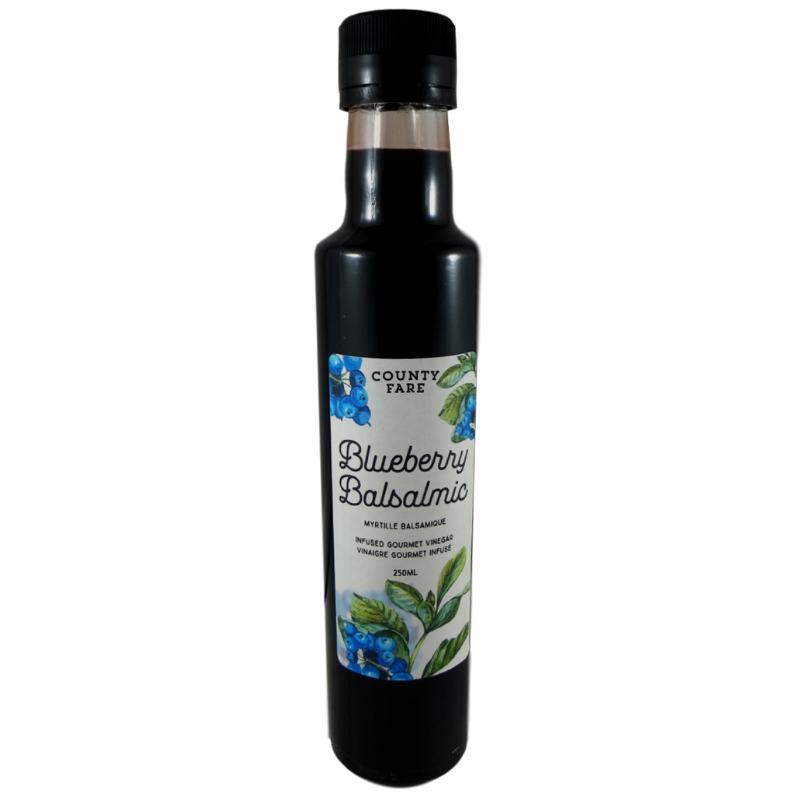 Blueberry Balsalmic - A balsamic vinegar base infused with blueberries, warm spices and a touch of organic coconut palm sugar to take the edge off the tart blueberries. A rich, deep and fruity flavour.250 mLBALSAMIC VINEGAR OF MODENA, BLUEBERRIES, LIME JUICE CONCENTRATE, ORGANIC COCONUT PALM SUGAR, BLACK PEPPER, CINNAMON, STAR ANISE, TLC.