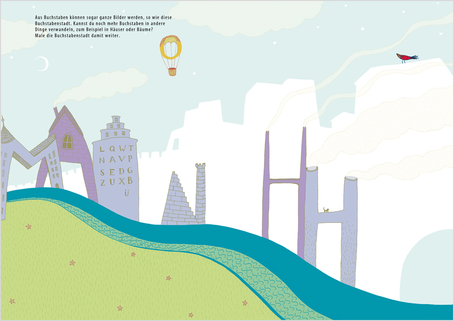 Can you transform more letters into things like trees and houses? Finish drawing the letter city.