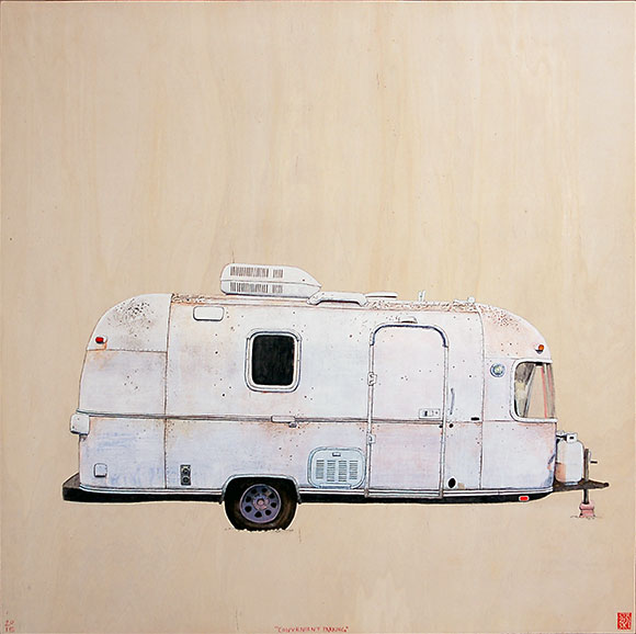 "Convenient Parking , acrylic and pencil on panel 24""x24"", 2015 (sold)"