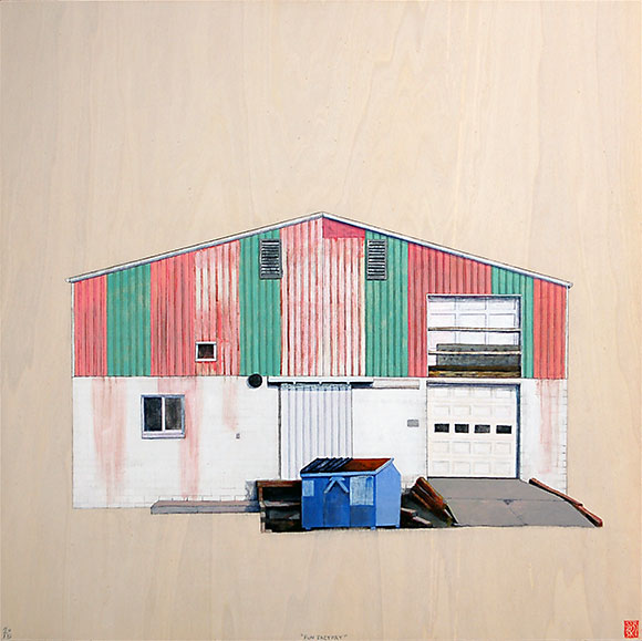 "Fun Factory , acrylic and pencil on panel 24""x24"", 2015 (sold)"