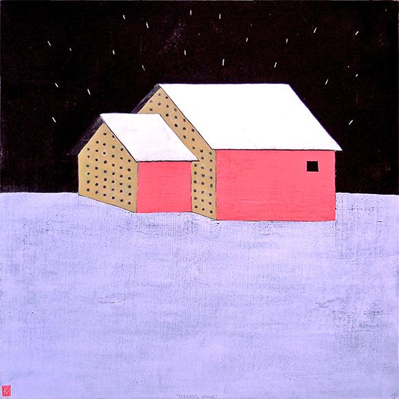 "Elemental House , acrylic on panel 24""x24"", 2014 (sold)"