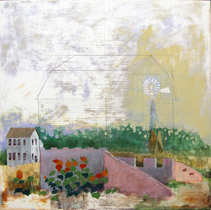 """Who Lived Here, What Did They Do? , mixed media on panel 24""""x24"""". 2007 (sold)"""