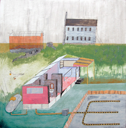 """My Country Life. . .That Which Remains , mixed media on panel 24""""x24"""", 2006 (sold)"""