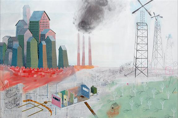 "Winterland III , mixed media on panel 40""x60"", 2007"