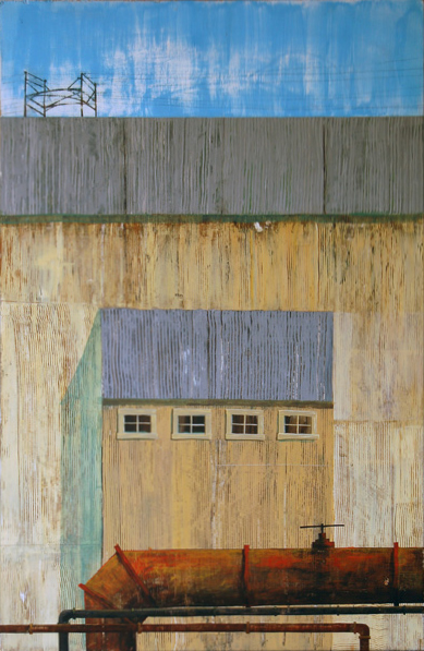 "Gary Indiana Smiles  For Amtrak, acrylic on found panel 37""x24"", 2006 (sold)"