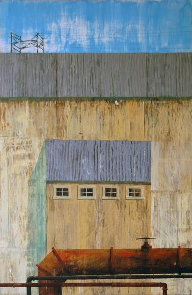 "Gary Indiana Smiles  For Amtrak, acrylic on found panel 37""x24"", 2006"