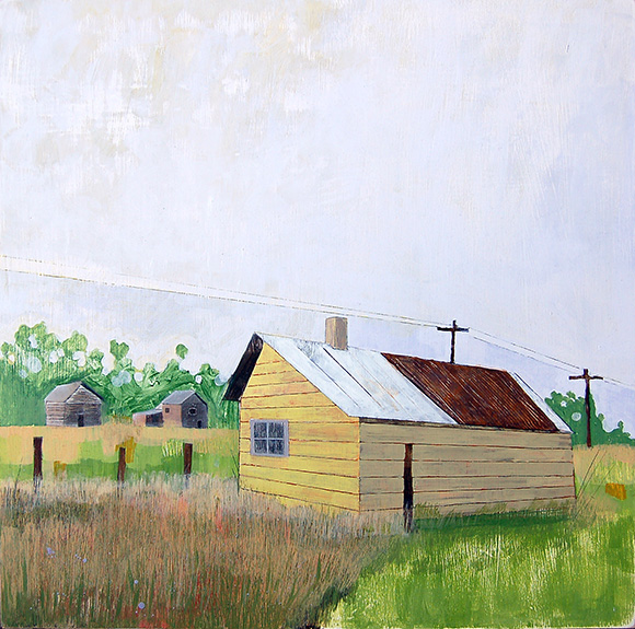 """Port Oneida Structures,  mixed media on panel 24""""x24"""", 2006 (sold)"""