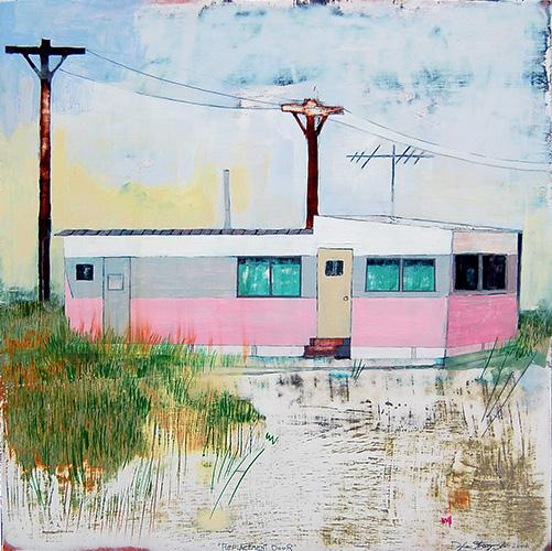 """Replacement Door , mixed media on panel 24""""x24"""", 2006 (sold)"""