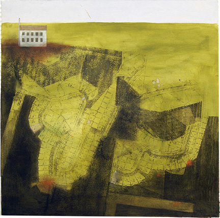 "Progress V , mixed media on paper mounted on panel 24""x24"", 2007 (sold)"