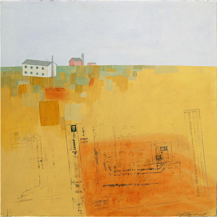 "Progress,  mixed media on paper mounted on panel 24""x24"", 2007 (sold)"
