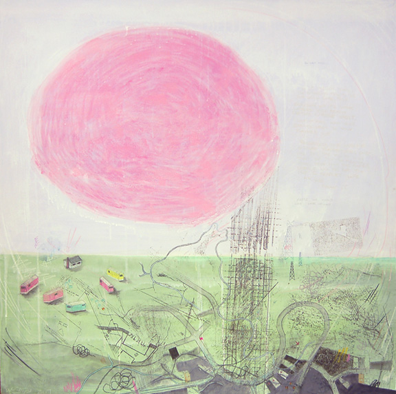 "Red Giant Phase,  mixed media on paper mounted on panel 42""x42"", 2007 (sold)"