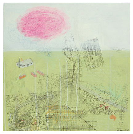 "Progress XVIII , mixed media on paper mounted on panel 24""x24"", 2007 (sold)"