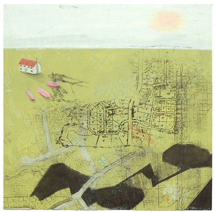 "Progress XVII , mixed media on paper mounted on panel 24""x24"", 2007"