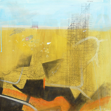 "Progress XXI,  mixed media on paper mounted on panel 24""x24"", 2007"