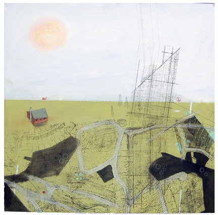 "Progress XIX,  mixed media on paper mounted on panel 24""x24"", 2007"