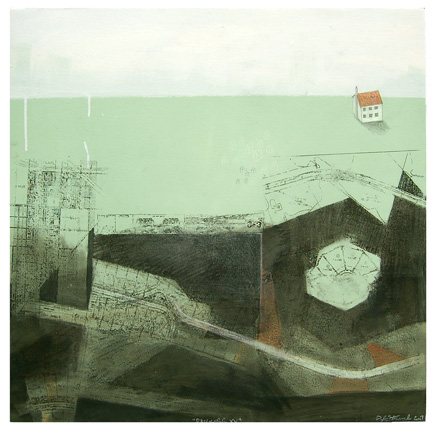 "Progress XV , mixed media on paper mounted on panel 24""x24"", 2007"
