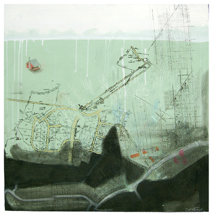 "Progress XVI,  mixed media on paper mounted on panel 24""x24"", 2007"