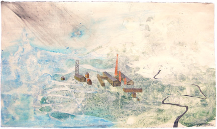 "Glacier Station,  mixed media on paper 17.5""x30"", 2007 (sold)"