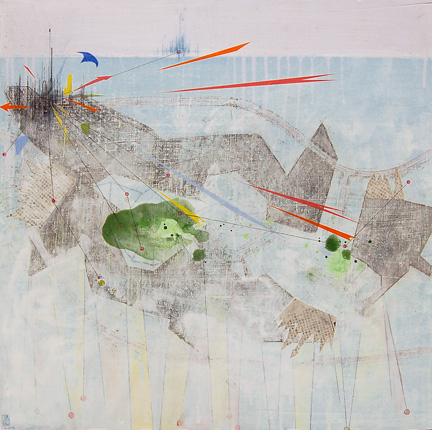 "untitled (geometric landscape), mixed media on panel 24""x24"", 2008"