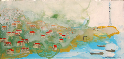 "untitled (riverside town), mixed media on panel 12""x18"", 2008 (sold)"
