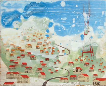 "untitled (riverside town II), mixed media on panel 12""x14"", 2008"