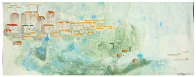 "Along The Banks Of Rivers , mixed media on paper mounted on panel 16""x42"", 2007"