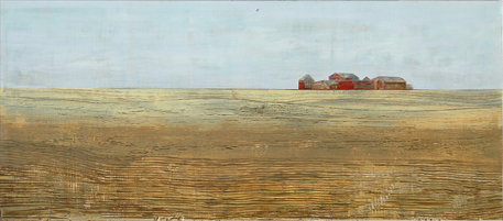 """untitled (plains), acrylic on found panel aprox. 12""""x20"""", 2006"""