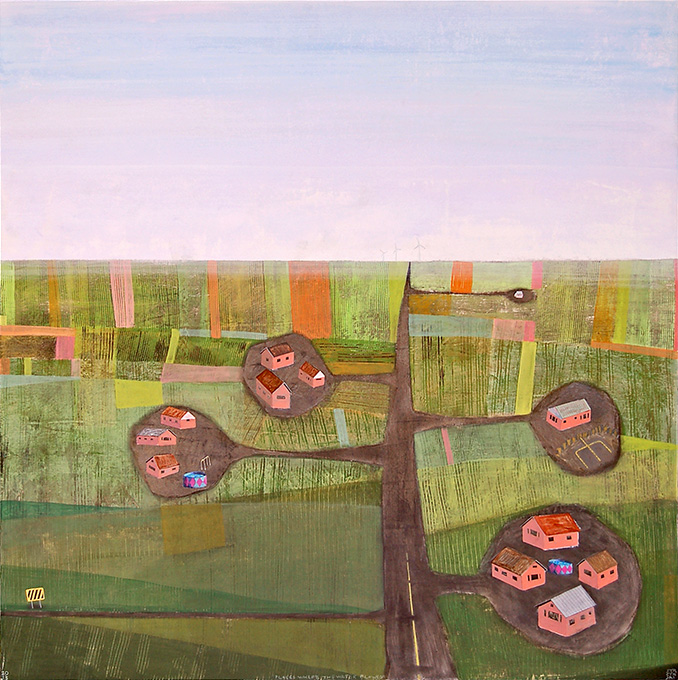 """Places Where The Water Flowed,  mixed media on panel 42""""x42"""", 2013"""