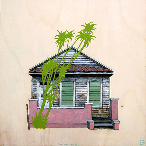 "Key West Palace , acrylic and pencil on panel 12""x12"", 2013"
