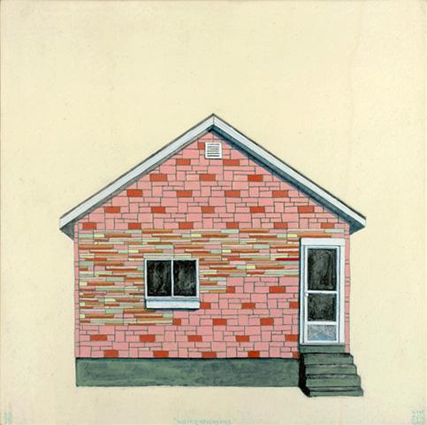 """Weird Neighbors , acrylic and pencil on panel 12""""x12"""", 2013"""