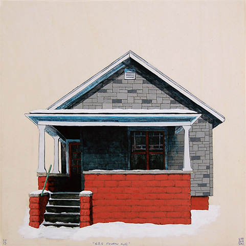 "625 Fourth Ave , acrylic and pencil on panel 12""x12"", 2013 (sold)"