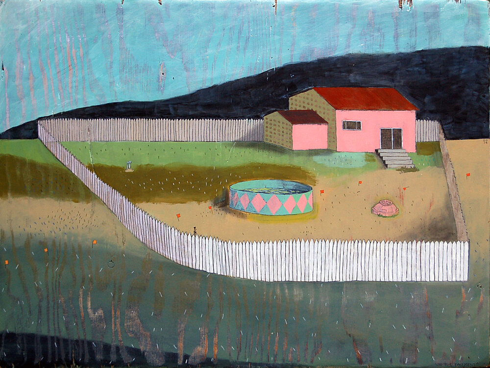 "On The Easement , mixed media on found panel 15.5""x24, 2014"