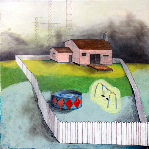 """The Enormous Space,  mixed media on panel 24""""x24"""", 2013 (sold)"""