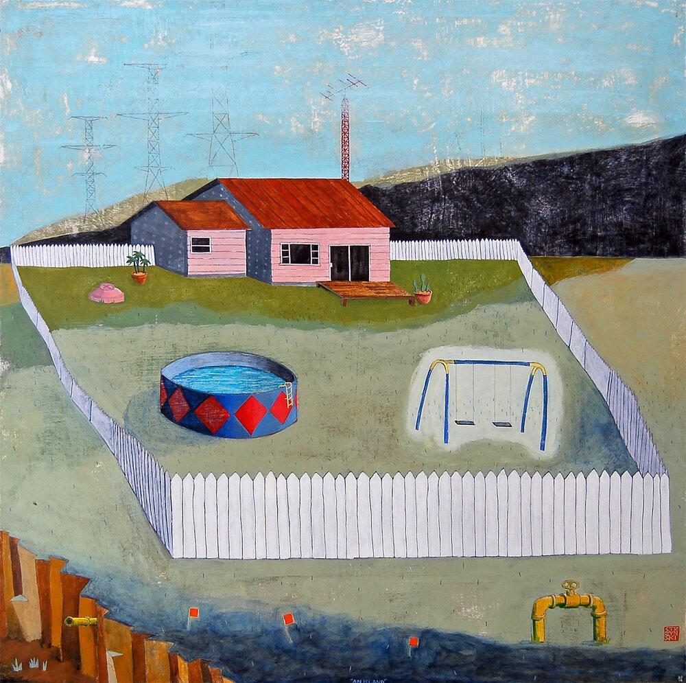 "An Island,  mixed media on panel 42""x42"", 2014"