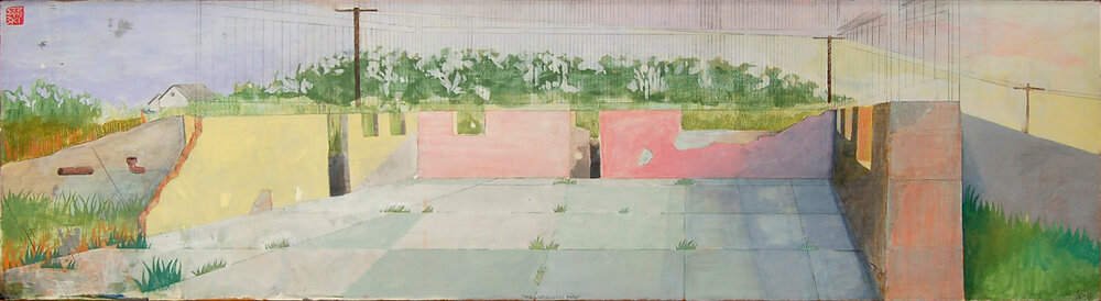 "The Ontological Barn , mixed media on found panel 18""x61"", 2006-2015"