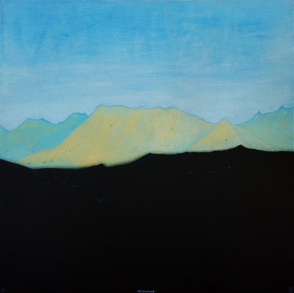 """Badlands , acrylic and charcoal on panel 24""""x24"""", 2017"""