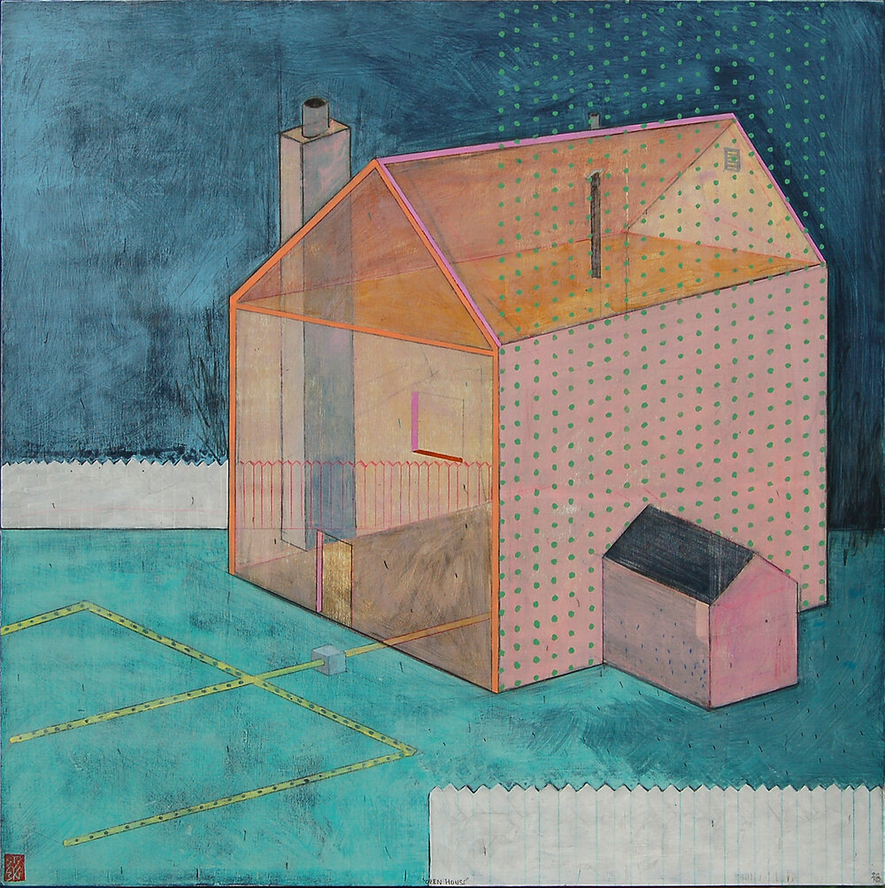 "Open House , mixed media on panel 24x24"", 2018"