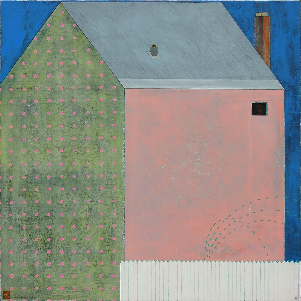 "Urban Gardening , mixed media on panel 24x24"", 2018"